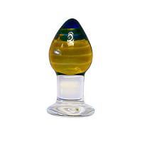 3.5 inch Glass Amber Anal Butt Plug Dildo